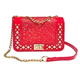 Shoulder Bag for Women Sequins Leather Crossbody Bag Fashion Coin Bag Phone Bag,GINELO (Red)