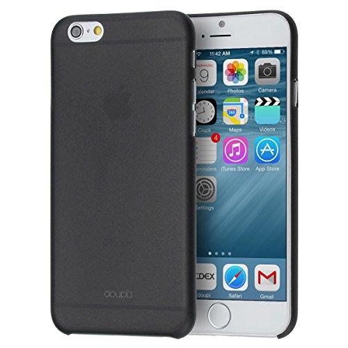 doupi UltraSlim Funda para Apple iPhone 6 6S AllClear Case transparente Negro