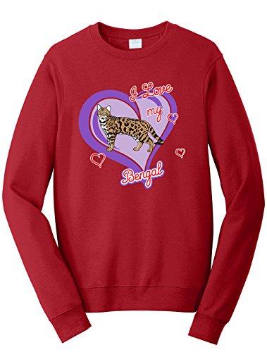 Tenacitee Men's Bengal Cat Sweatshirt, 3X-Large, Cardinal Red