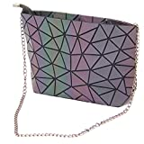 HotOne Fashion Reflective Shoulder Bag Geometric Gradient Lingge PU leather Womens Satchel Handbag