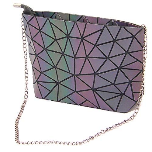 HotOne Fashion Reflective Shoulder Bag Geometric Gradient Lingge PU leather Womens Satchel Handbag by Hot One