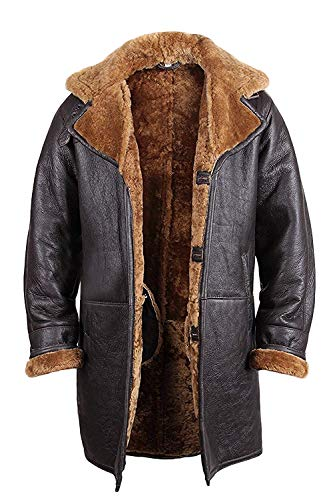 - Brandslock Mens Real Shearling Sheepskin Leather Duffle Coat X-Large Brown