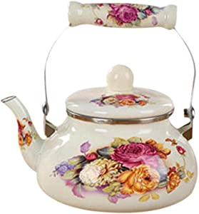 Water Kettles Ceramic Teapot Enamel Kettle for Electromagnetic Gas Thickening Tea Pot Induction Cooker (1.5L,Flower)