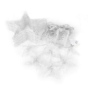 SnowX Catena Luminosa, Cascata LED, Luci Cascata,8 modalità di impostazione, Caldo Bianco Stringa di Luce leggiadramente per IP65, per Finestra, Porta, Patio, Giardino, Feste, Natale