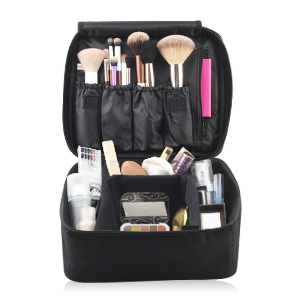 Eliza Huntley Travel Makeup Organizer, Makeup Travel Case & Toiletry Travel Bag for Women, Cosmetic Case, Black Makeup Suitcase