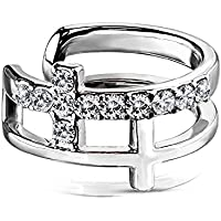 Covet Jewelry Double Cross CZ Paved Non-Piercing Ear Cuff