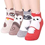 DearMy Womens Cute Design Casual Cotton Crew Socks | Good for Gift Idea| One Size Fits All | Gifts for Women (Racoon 4 Pairs)