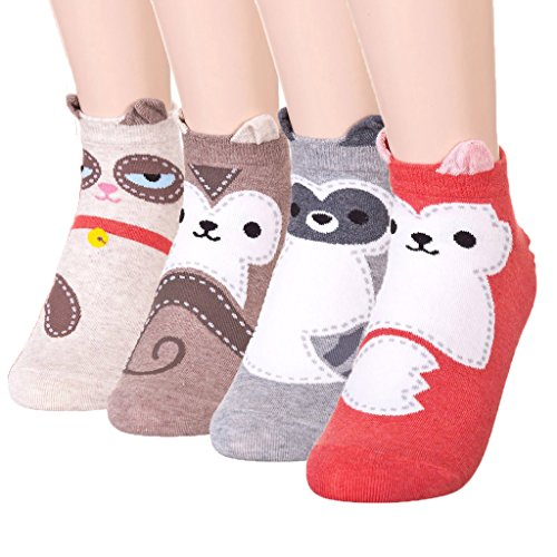 DearMy Womens Cute Design Casual Cotton Crew Socks | Good for Gift Idea| One Size Fits All | Gifts for Women (Racoon 4 Pairs) -