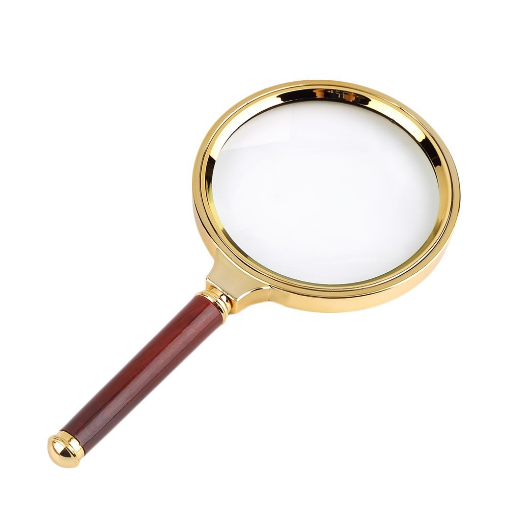 Yogasada Classic 90mm Handheld 10X Magnifier Magnifying Glass Loupe Reading Jewelry Golden /& Red
