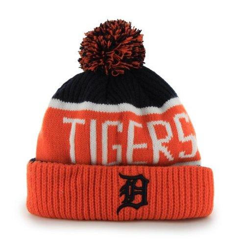'47 Detroit Tigers Orange Cuff Calgary Beanie Hat with Pom - MLB NY Cuffed Winter Knit Toque Cap