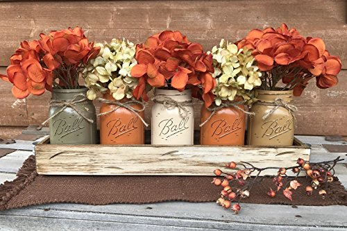 FALL Mason Canning JARS in Wood ANTIQUE WHITE Tray Thanksgiving Centerpiece with 5 Ball Pint Jar -Kitchen Table Decor -Distressed -Flowers (Optional)- Orange Tan Brown Green Yellow Painted Jars (Centerpiece Thanksgiving)