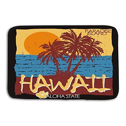 - Xunulyn Kitchen Floor Bath Entrance Door Mats Rug Hawaii Tropical Beach Summer Art Design Palm Trees Ocean Sun Typography Summertime Fun Paradise Silhouette Non Slip Bathroom Mats 23.6