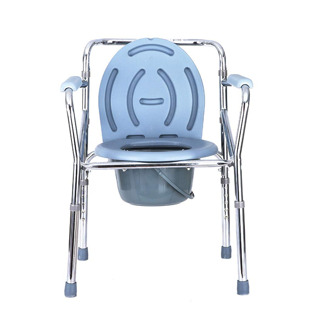 FFLSDR Old Man Bathing Toilet Seat Dual-use Toilet Chair Adjustable Height Folding Bath Chair Size  49x53x73.5-83.5cm