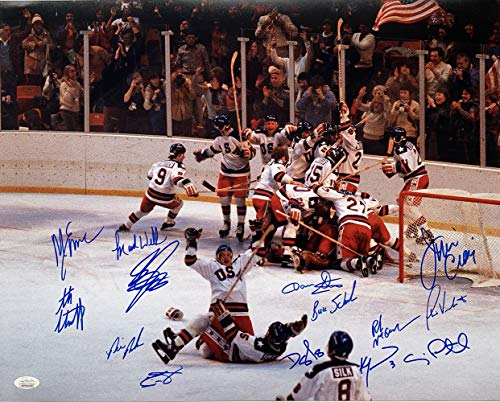 1980 USA Team Signed Miracle On Ice 16x20 Photo 14 Signatures JSA