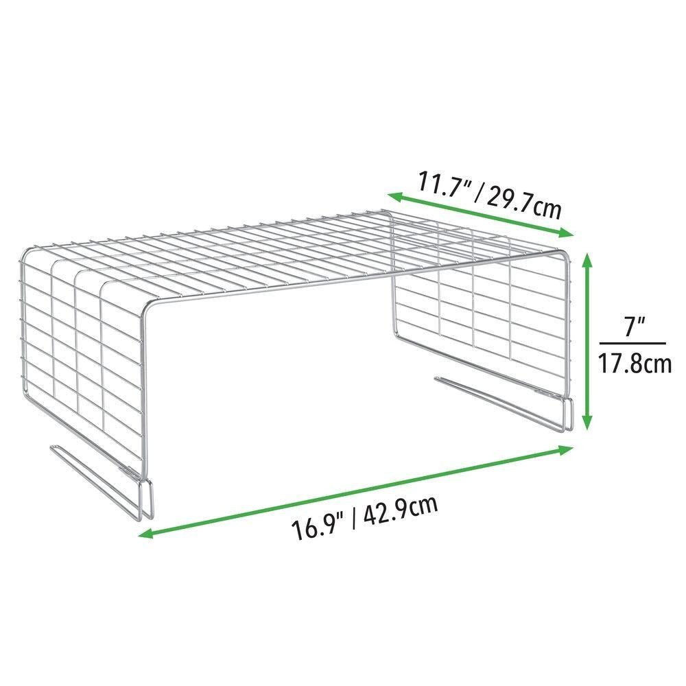 argento Comodi accessori interni per armadi da installare sulle mensole mDesign Set da 2 Pratici organizer armadio in metallo Divisorio per armadi a due livelli