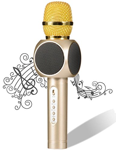 Wireless Karaoke Microphone, Pecosso Bluetooth Microphone, Portable 3-in-1 Handled Multi-function Player Built-in Speaker for PC Smartphone iPhone Android; Home Outdoor Party & Live Broadcast - Gold