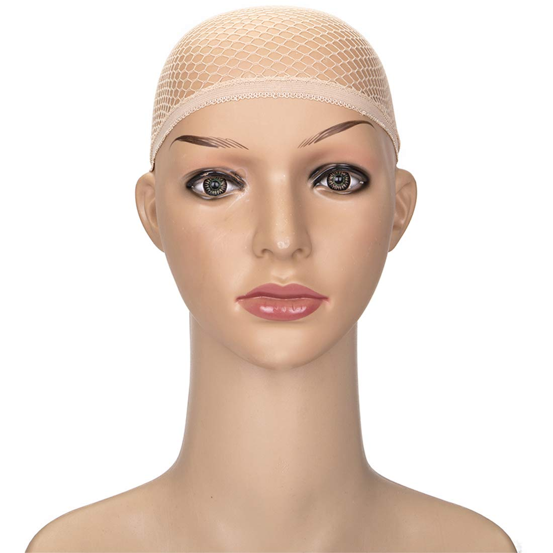 3 Pack Nylon Hair Net Wig Caps Stretchable Net Mesh Fishnet Elastic Snood Cap(Skin) by FOCUSSEXY (Image #2)