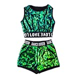 Kids Girls Hip-hop Jazz Performance Costumes Dancing Clothes Sequin School Halloween Set (5-6Years, Green Set)