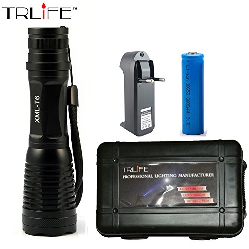 CREE XML T6 LED Flashlight 6000 Lumens Lanterna High Power Adjustable led Torch Zoomable Flashlight + Charger +1 18650 Battery