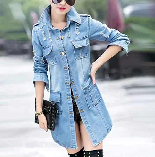 Windbreaker Coat Mid Oversized Jacket Premium Long Denim Mogogo Blue Women's wPqFw1