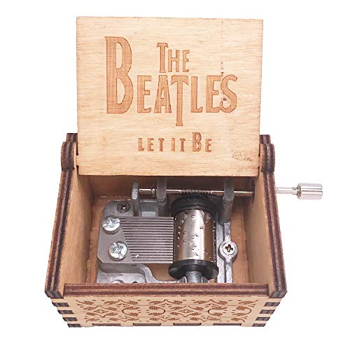 The Beatles Music Box Hand Crank Musical Box Carved Wood Musical Gifts,Play Let it Be,Brown ()