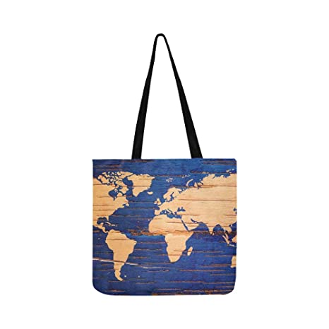 Mapa mundial del abedul corcho de lona natural bolso de ...