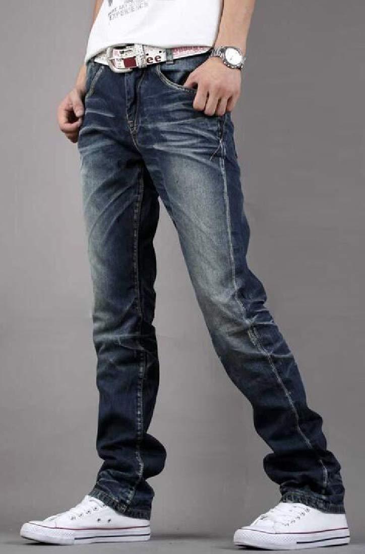 BOBOYU Mens Slim Fit Straight Leg Stretchy Casual Denim Jeans Pants