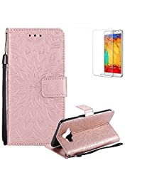 Funyye Strap Magnetic Flip Cover for Samsung Galaxy J7 Duo,Premium Rose Gold Sunflower Embossed Pattern Folio Wallet Case with Stand Credit Card Holder Slots Case for Samsung Galaxy J7 Duo,Shockproof Ultra Thin Slim Fit Full Body PU Leather Case for Samsung Galaxy J7 Duo + 1 x Free Screen Protector