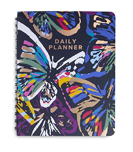 Vera Bradley Undated Hardcover To Do Daily Planner, 8.75 x 6.75, Butterfly Flutter