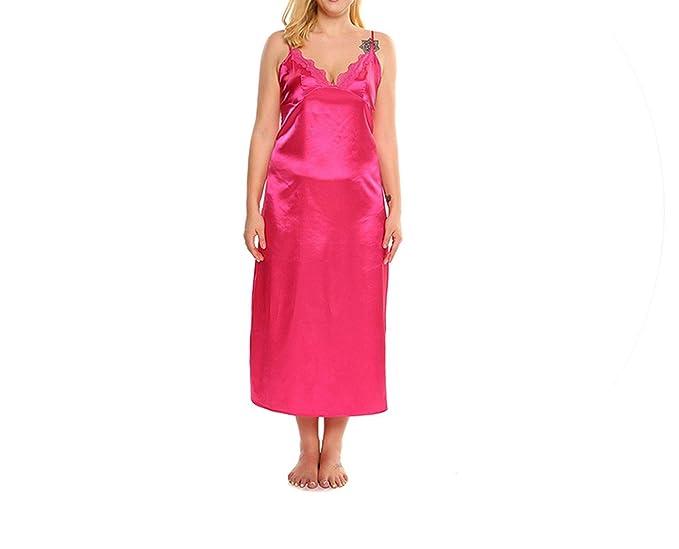 3971c7683bd03 Deep Nightwear Women Sexy Lace Trim Satin Chemises Maxi Dress Nightgown  Plus Size Home Dress