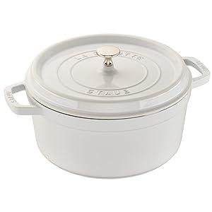 Staub Cast Iron 7-qt Round Cocotte - White