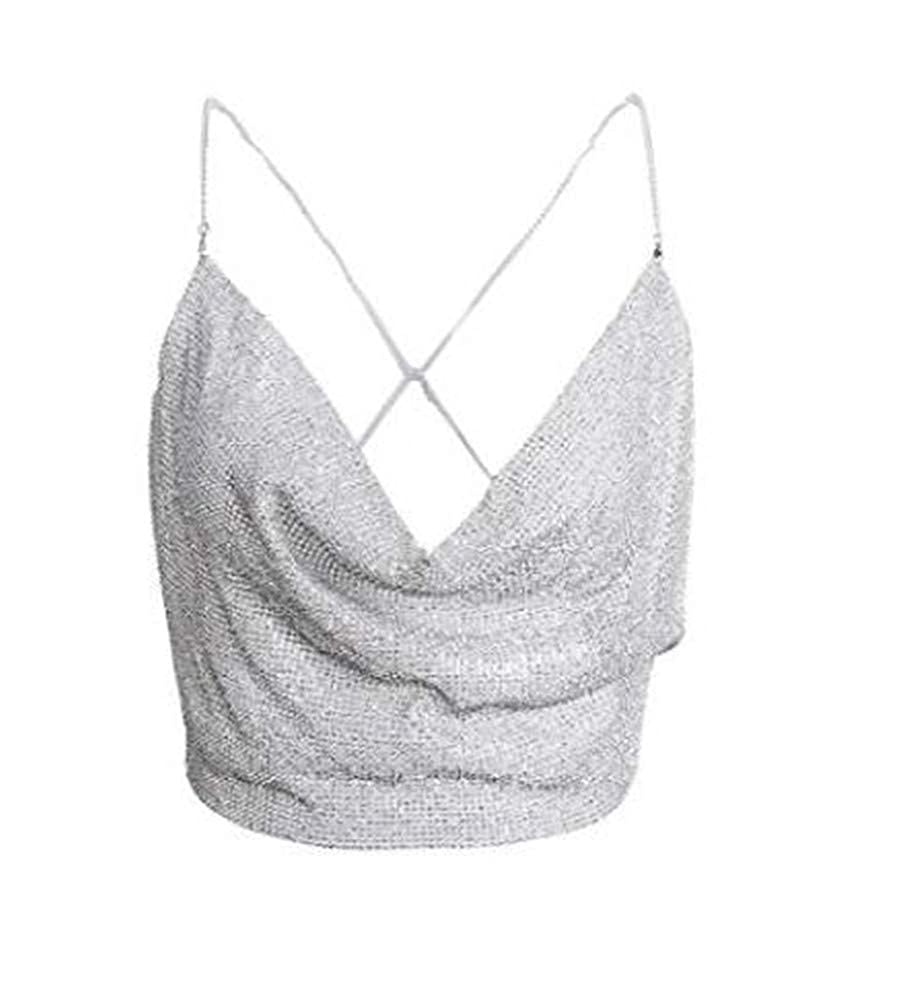 Femmes Deep V Cross Dos Halter Neck Sequin Cami Sangle Crop Top Blouse Clubwear