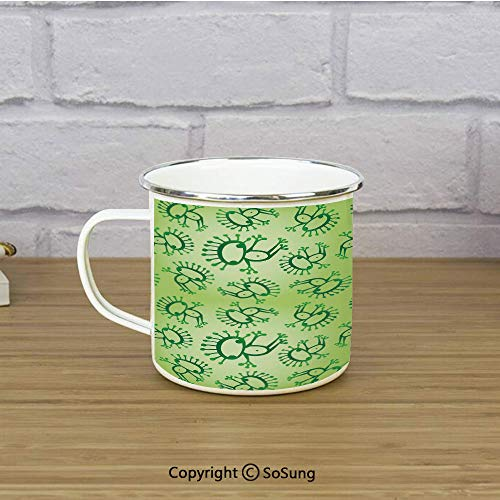 Green Enamel Coffee Mug,Doodle Style Drawing of Alien Frogs Fantasy Theme Watercolors Cartoon Like Pattern Kids,11 oz Practical Cup for Kitchen, Campfire, Home, TravelGreen