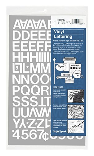 Chartpak Self-Adhesive Vinyl Capital Letters and Numbers, 3/4 Inches High, White, 94 per Pack (01026) from Chartpak