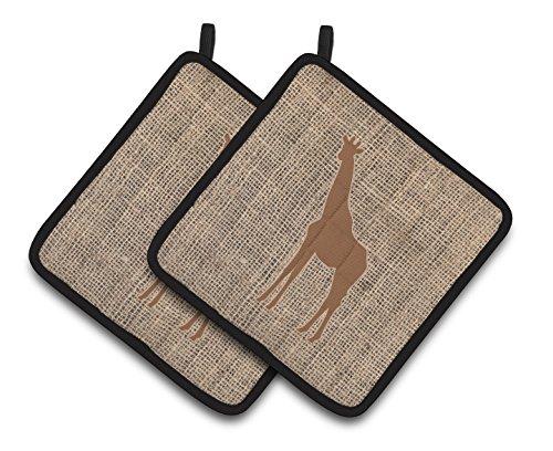 Caroline's Treasures Giraffe Faux Burlap & Brown Pair of Pot Holders BB1001-BL-BN-PTHD, 7.5HX7.5W, Multicolor