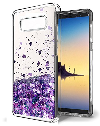 Galaxy Note 8 Case, Skmy Liquid Glitter Sparkle Girl Women Cute Clear TPU+Shockproof Hard PC Protective Case for Samsung Galaxy Note 8 (Purple)