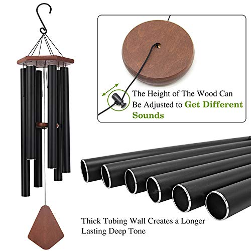 Wind Chimes Outdoor Large Deep Tone, 44 Inch Sympathy Wind Chime Amazing Grace Outdoor, Memorial Wind-Chime with 6 Tuned Tubes, Elegant Chime for Garden, Patio, Balcony and Home Decor, Matte Black by Astarin (Image #2)