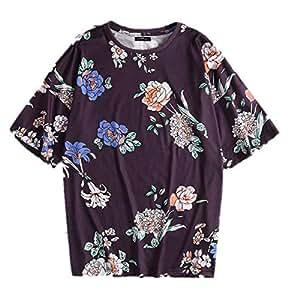 TT WARE Men Rose Print Short Sleeve T-Shirts-Purple-4XL