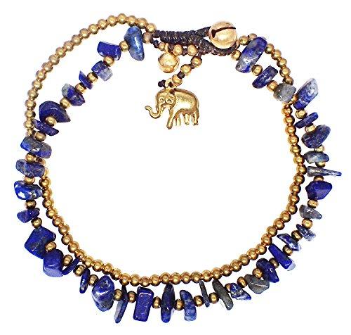 [Bijoux De Ja Handmade Sodalite Stone Elephant Charm Brass Beads Anklet Bracelet 10 Inches] (Running From The Wolf Costume)