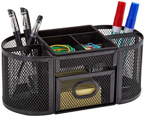AmazonBasics Mesh Desk Organizer, Black Photo #2