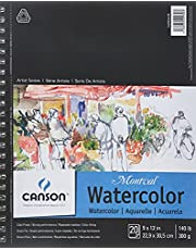 """CANSON Artist Series Montval Watercolor Paper Pad, Heavyweight Cold Press and Micro-Perforated, Side Wire Bound, 140 Pound, 9 x 12 Inch, 20 Sheets, 9""""x12"""""""