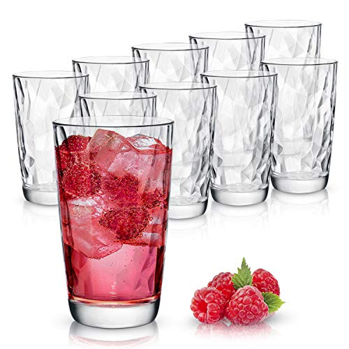 Clear Drinking Glasses Set of 10   Real Glassware with Heavy Base   10 Highball Drinkware Tumbler Set For Water, Whiskey, Cocktails   Best Kitchen Gift ()