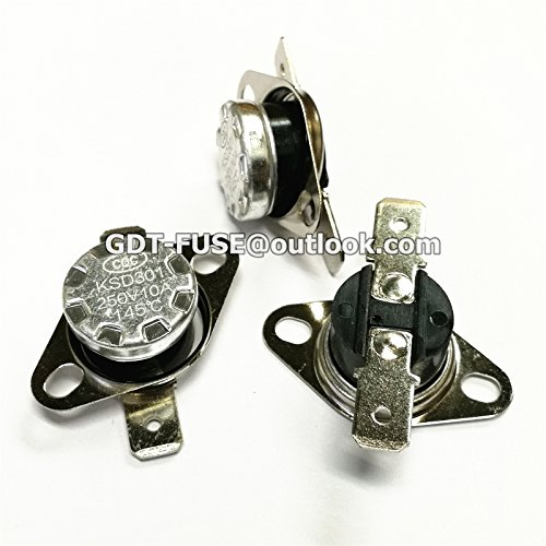 5PCS KSD301 10A 250V 145 Thermostat Temperature Control Switch 145C Normally closed 145 degrees or more disconnected