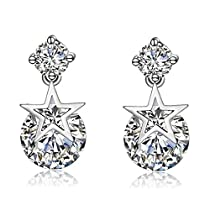 Wonvin 925 Silver Stud Earrings Star Flexible Cubic Zirconia Earrings for Women Girls