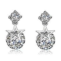 Wonvin 925 Silver Stud Earrings Star Flexible Cubic Zirconia Earrings for Women Girls