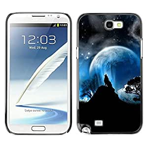 Be Good Phone Accessory // Dura Cáscara cubierta Protectora Caso Carcasa Funda de Protección para Samsung Note 2 N7100 // Full Moon Wolf Wolves Howl Stars