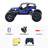 TOPQSC RC Car Off Road 1:16 Scale 4WD 2.4GHZ Radio Control Desert Buggy Vehicle Bigfoot Hobby Rock Climbing Sandy Beach Truck Buggy Crawler Monster Truck Musical Electric Toy Blue