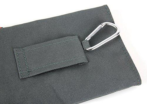 Gepolsterte Outdoor-Hülle | Transport-Case in Grau mit Karabinerhaken & Gürtelschlaufe für Apple iPhone 8 Plus Smartphones