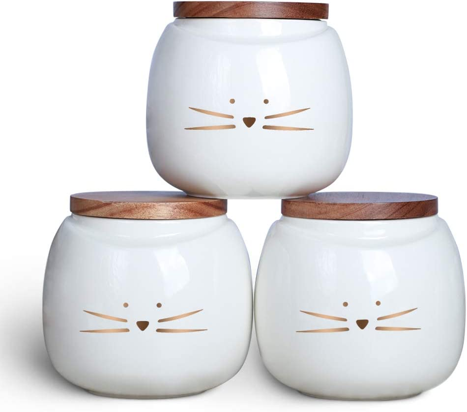 Koolkatkoo Ceramic Cat Canister Set Coffee Tea Sugar Food Storage with Bamboo Lid for the Kitchen Canister Round White Set of 3