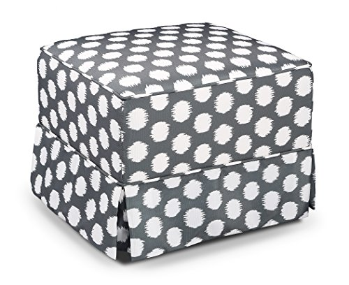 (Storkcraft Polka Dot Upholstered Ottoman, Gray/White, Cleanable Upholstered Comfort Rocking Nursery Ottoman)